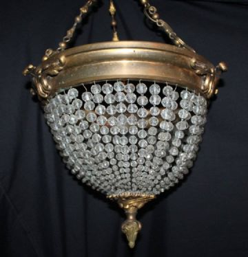 VINTAGE  FRENCH GLASS BAG CHANDELIER  CEILING LIGHT - Ref: ANV15
